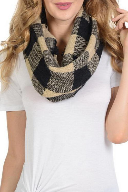 Checked Pattern Vintage Style Fringe soft Infinity Scarf