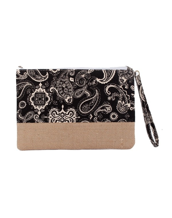 Paisley Ethnic Pattern Printed Natural Burlap Clutch Bag