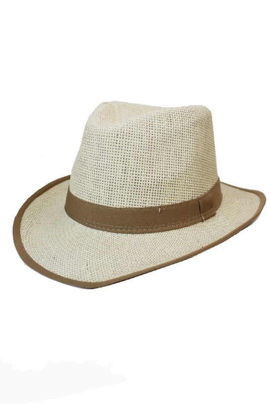 Classic Straw Colored and And Trim Unisex Cowboy Panama Hat