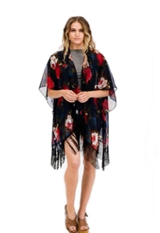 Floral Roses Chiffon Tassel Kimono Cover Up