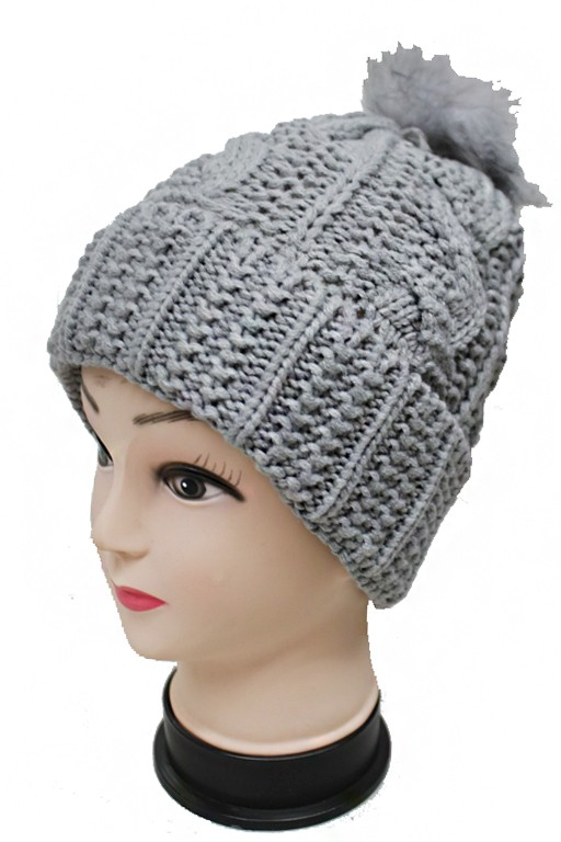 Rib Knit Line Cuff With Twisted Braid Knit Fur Lined Beanies