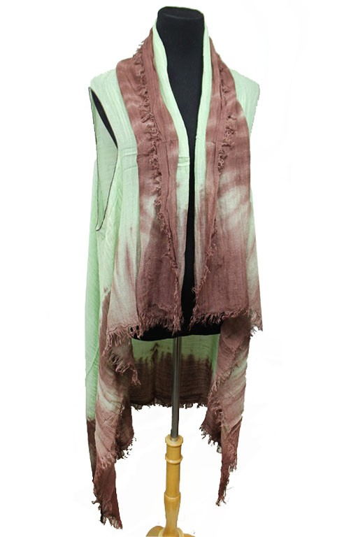 Natural Tint Dye Distressed Washed Kimono Vest