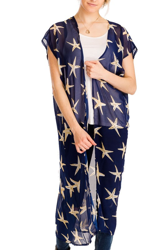 Starfish  Print Design Long Styled Kimono Cover Up
