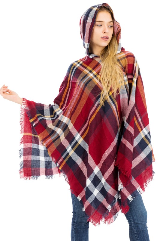 Vintage Rustic Grunge Plaid Light Weight Hooded Poncho