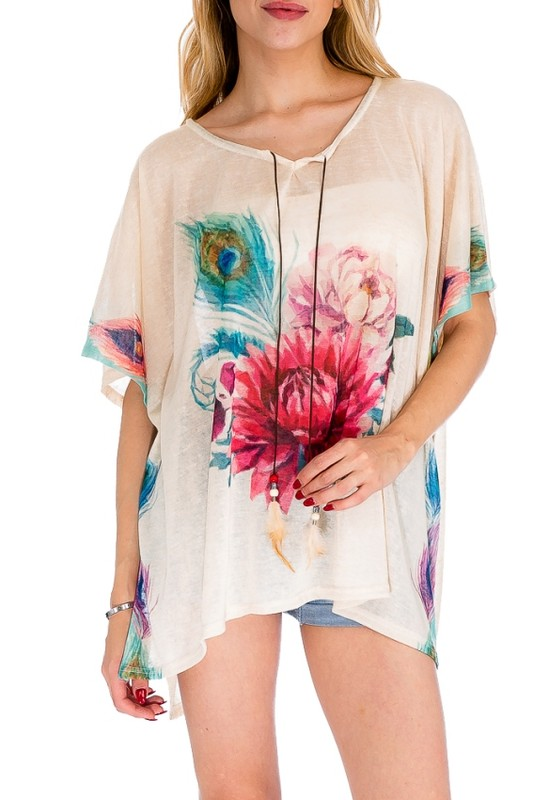 Splash Of color Blossomed Floral Boho Me Off Kimono Top