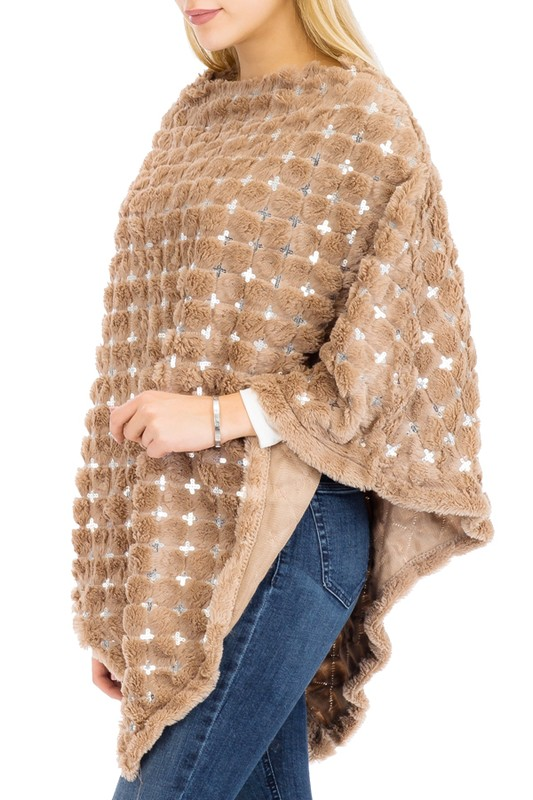 Velvety Extra Soft All Silver Sequin Poncho