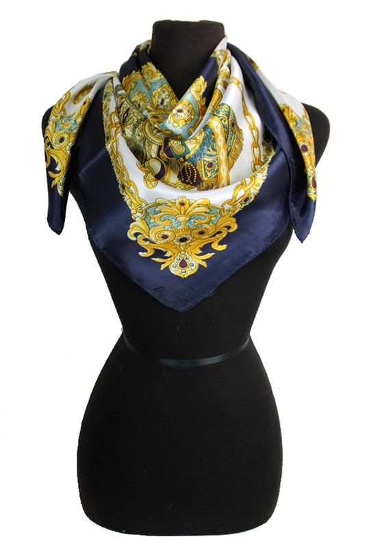 Royal Gold Chain Patterned Silk Felt Twill Square Scarf