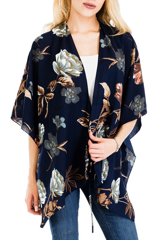 Hibiscus and Peony Flower All Print Blouse Styled Cover Up Kimono Top with Self Tie String