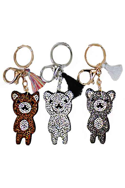 Teddy Bear Full Rhinestone Applique Key chain Charm