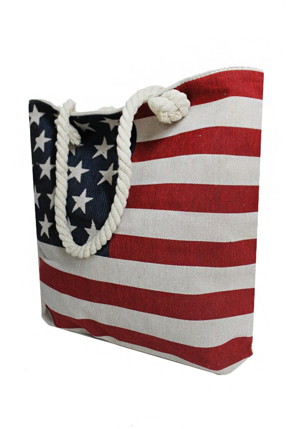 All Natural Canvas  American Flag Embroidered Tote Bag