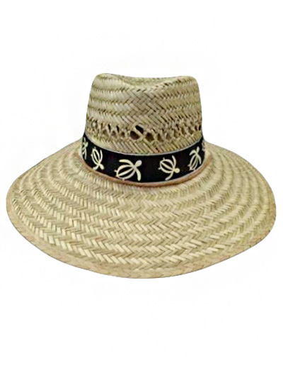 All Natural Straw Outdoor Hat Sea Turtle Cotton Band