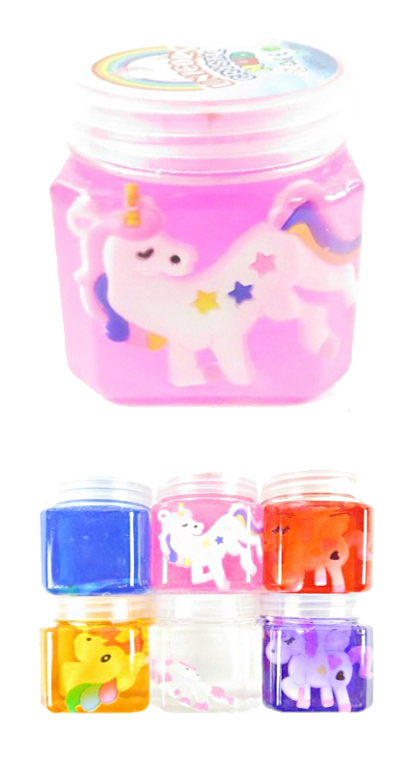 Jelly Slime Filled cube With Unicorn Figurine