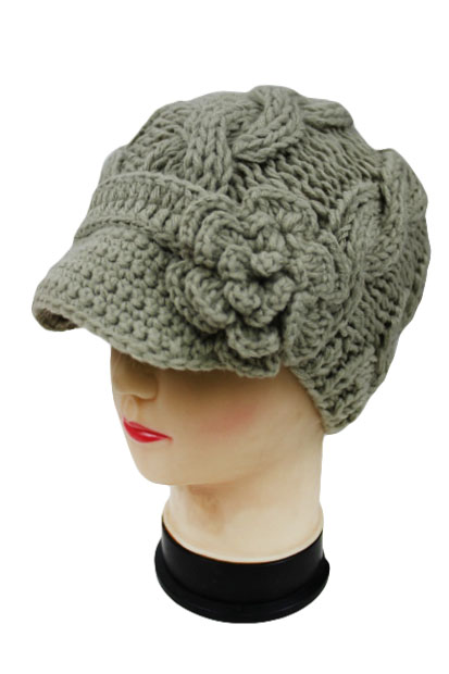29c62f15f7d Super Soft Cable Knit Beanie with Knit Visor and Flower Accent.