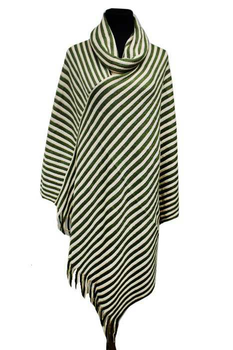 Turtle Neck Stripe Design Knitted Big Poncho