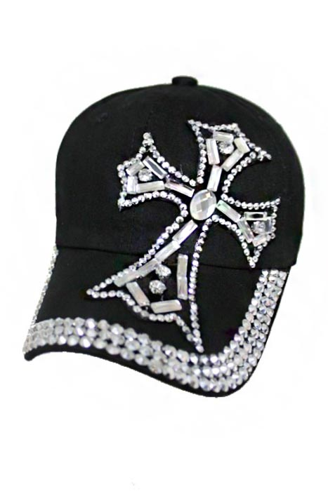 Chopper Cross Design Mirror and Crystal Bling Bling Studs Cotton and Denim Washing Cap