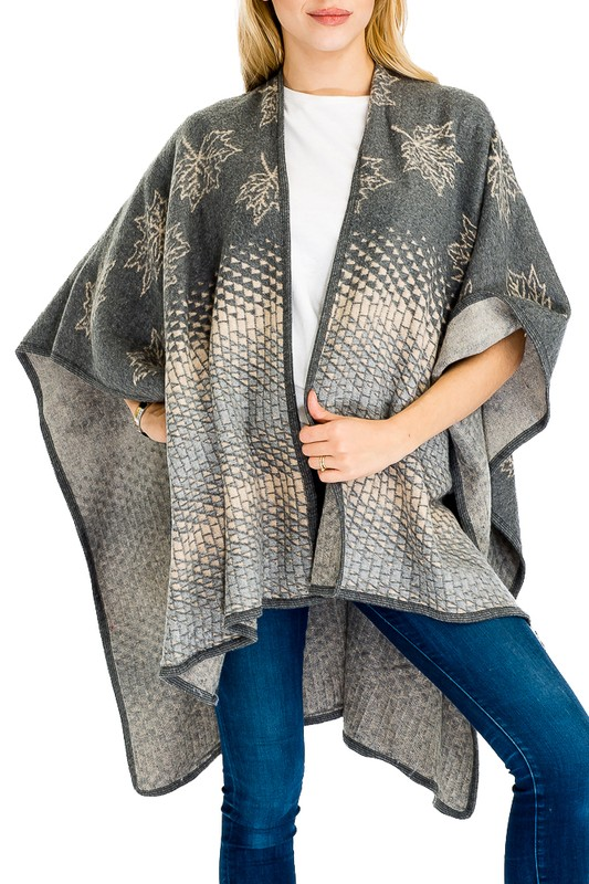 Natural Leaves & Geometric Patterned Thick Felt Fabric Cape-like Open Shawl with Brooch for Closure