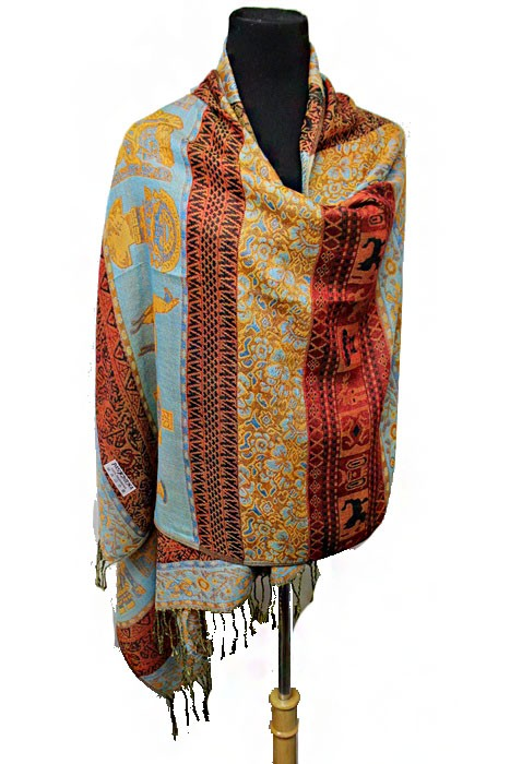 Earthy Toned Cultural & Historic Llama Patterned Soft Pashmina Scarf