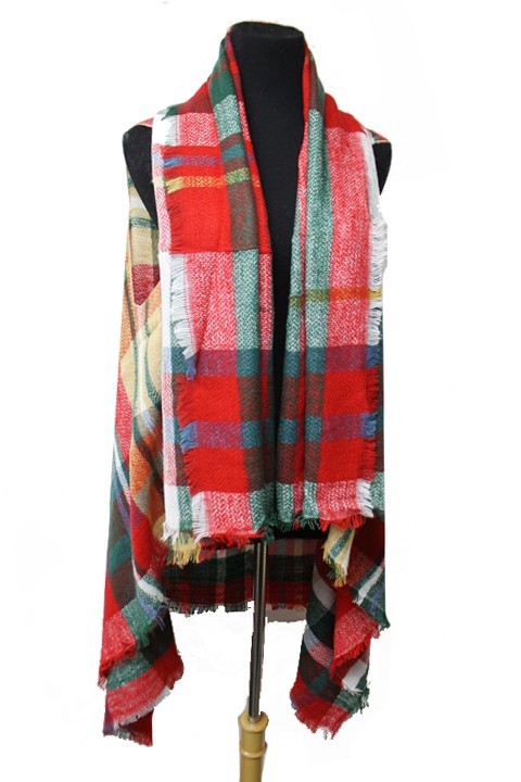 Block Plaid Design Super Softness Extra Long Sleeveless Cardigan Style