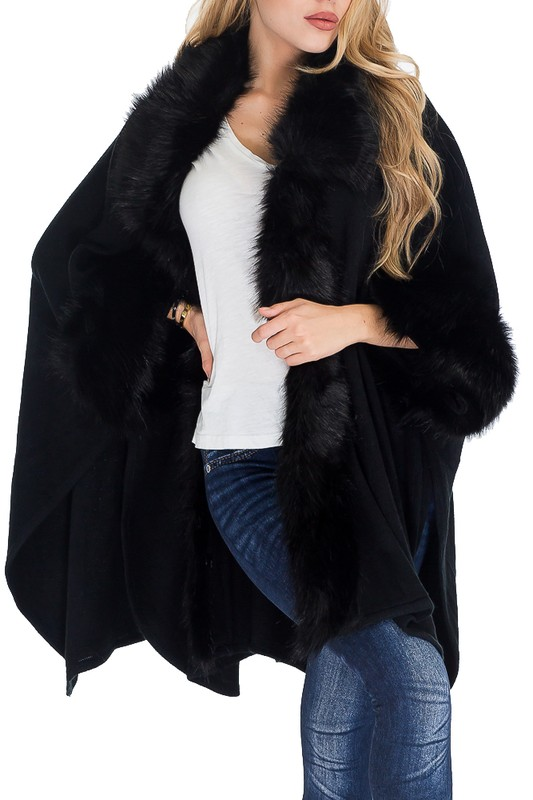 Luxurious and Monochromatic Faux Fur Collared and Trimmed High End Cuffed Poncho