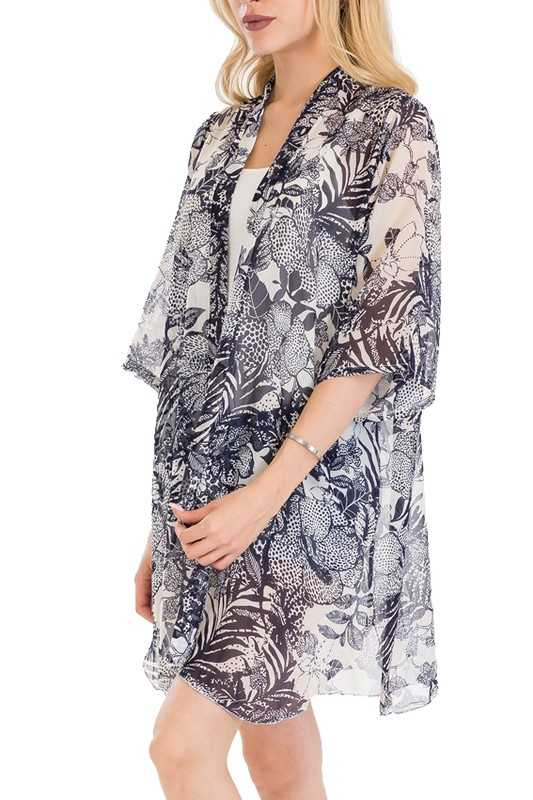 Natural Pattern Leaves Exotic Cool Touch Classic Kimono 1/2 Sleeve Long Breezy Cover Up