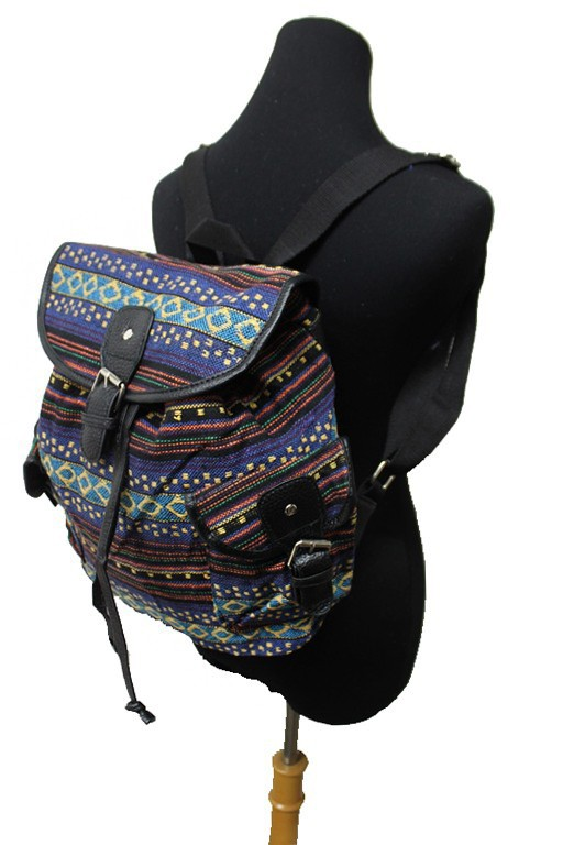 Boho Tribal Native Colorful Print Canvas Back Packs