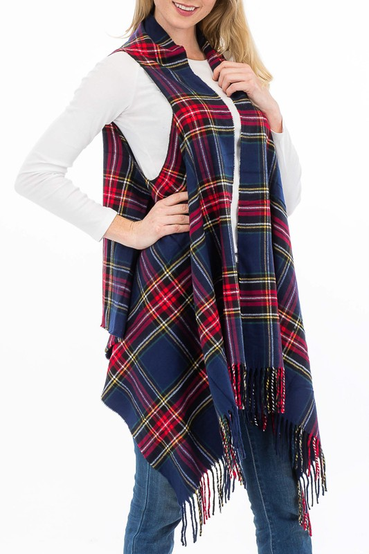 Plaid Pattern Super Soft Cashmere Vest Cardigan with Fringe