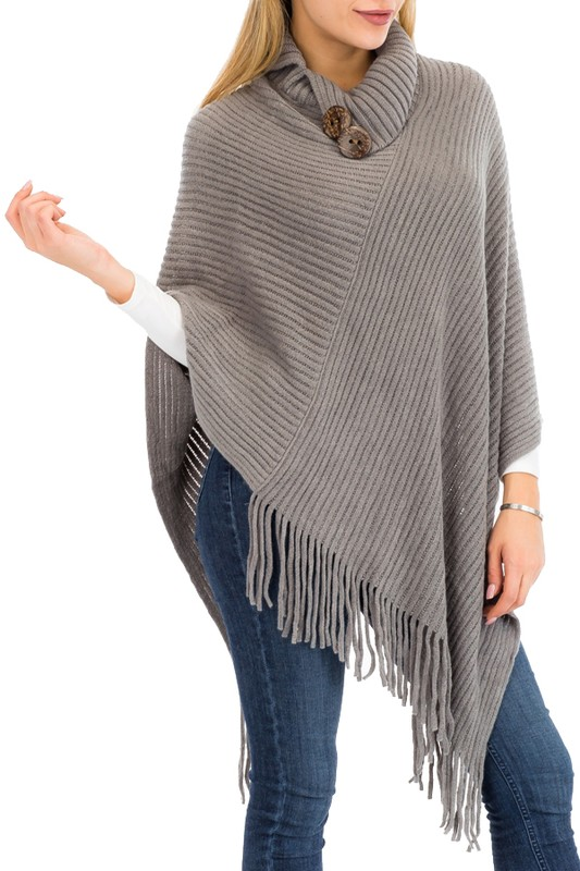 Fully Ribbed Knit Wooden Boho Button Decor Collared Neck Poncho