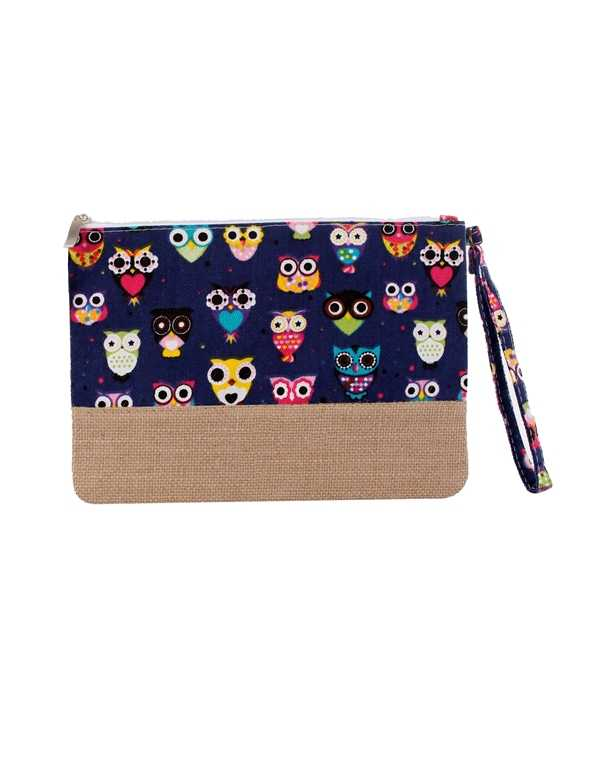 Colorful Owls Print with Natural Brap Clutch Bag