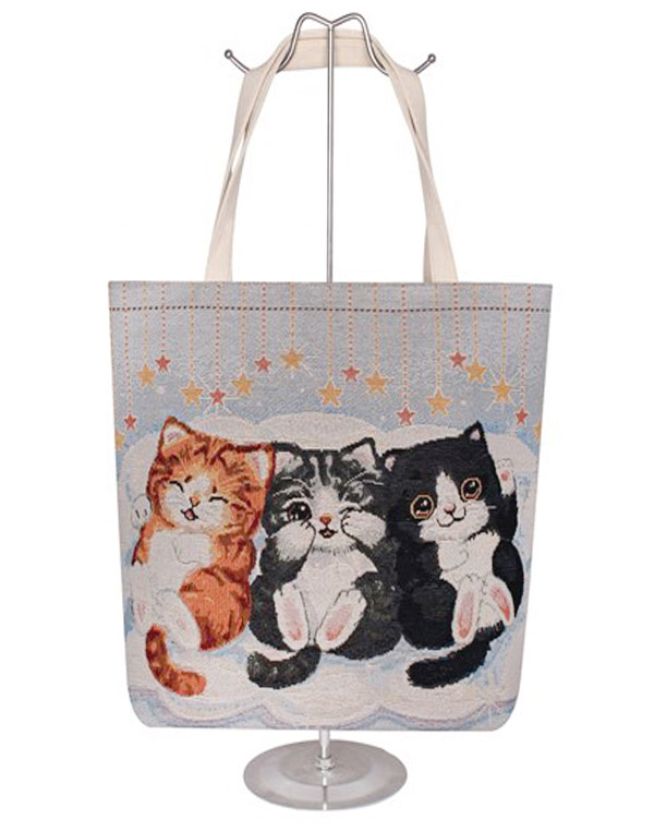 Furry Kitten Trio Cotton Canvas Tote Bag