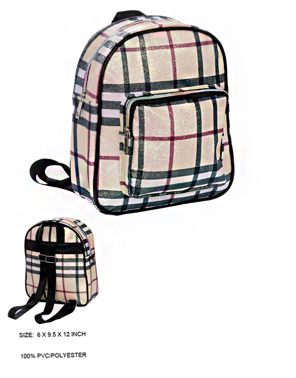 Glittered Plaid Fashion Mini Backpack