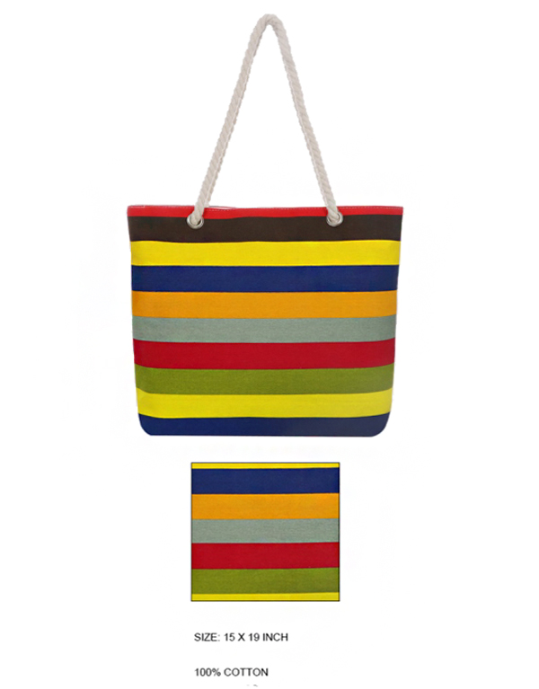 Multi Color Striped Canvas Tote Bag with Twisted Rope Straps