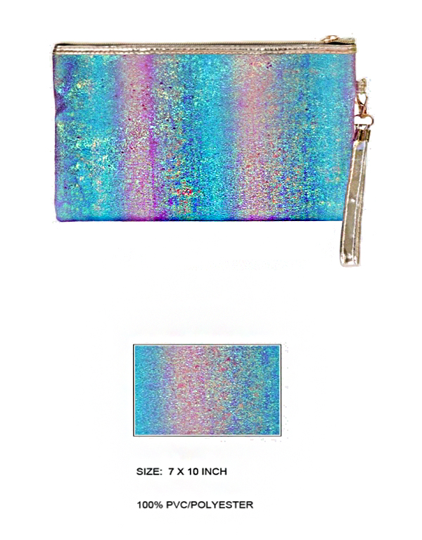 Glittered Ombre Dimensional Felt Pouch Wristlet