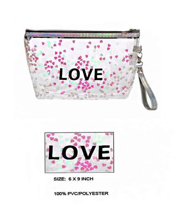 Transparent Love Confetti Laser Printed Pouch Bag