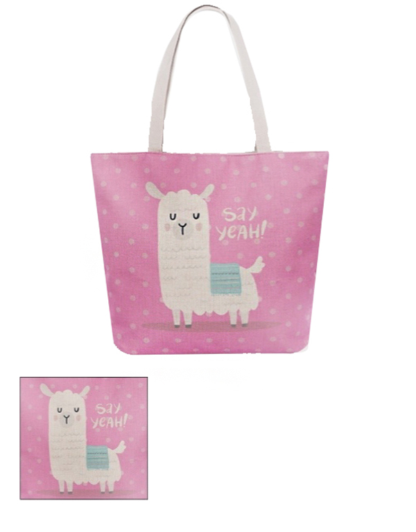 Say Yeah ! Llama Tote Canvas Back