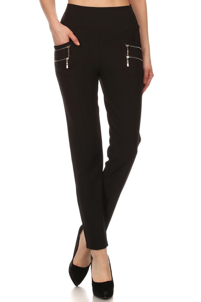 Double Side Zippers Flattering Fit Legging Pants