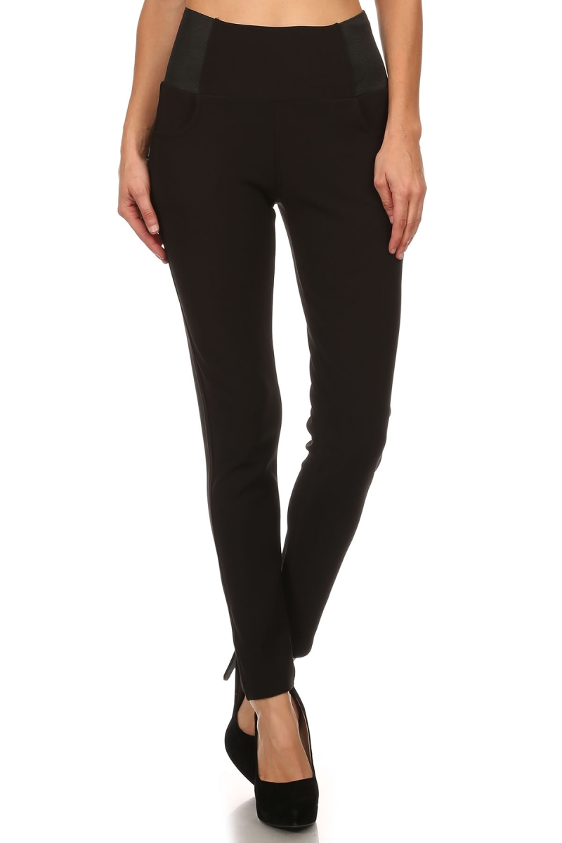 Basic Wide Grip Elastic Mid Rise Legging Pants