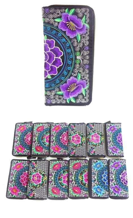 Richly Colored Embroidered Floral Chic Wallet