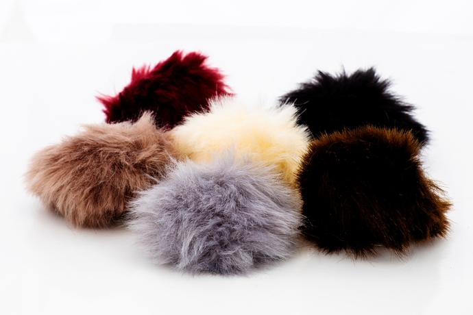 Safety Pin Buttoned Short Faux Fur Pom Poms