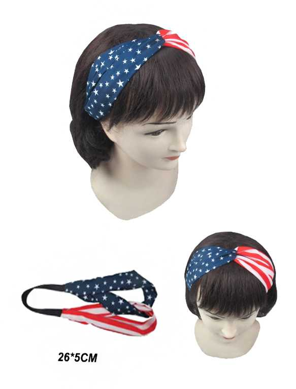 Double Twist star and Stripes American Flag Head Band