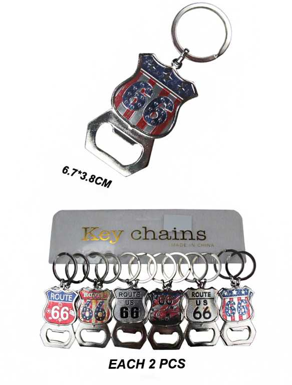 Novelty Route 66 Bottle Opener Key Chain