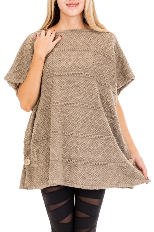 Short Sleeve Boat Neck Tunic Winter Poncho With Side Buttons