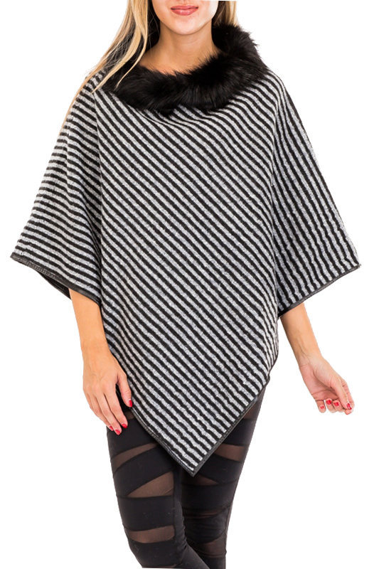 Chic wool Blended Stripe Luxe Fur Trimmed Collar Poncho