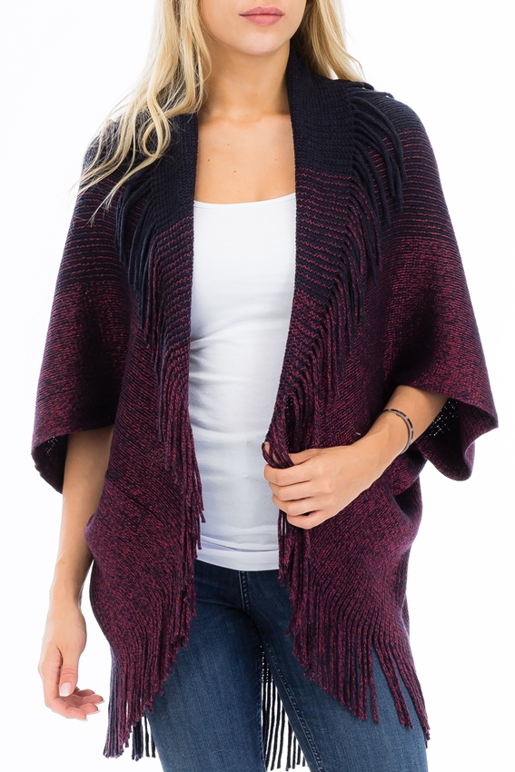 Slouched Duo Tone Colored Fringed Poncho