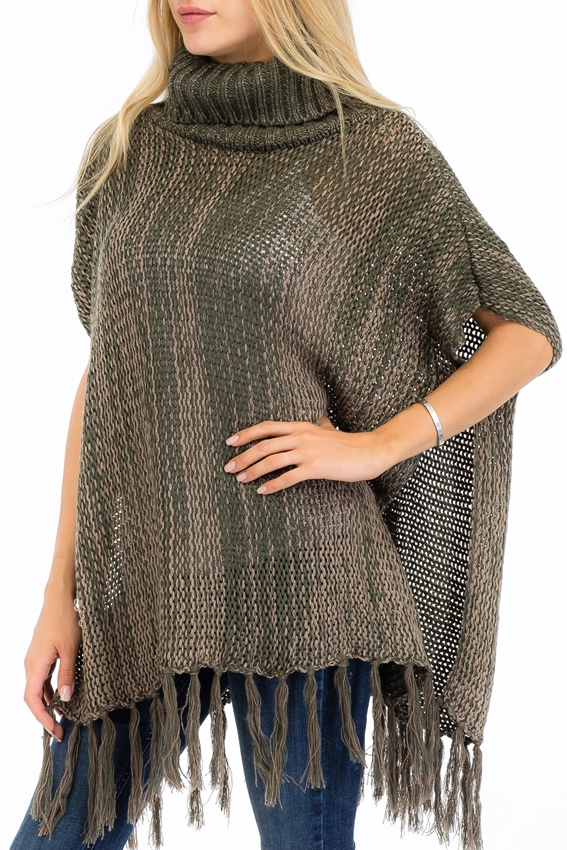 Cuffed Neck Mixed Knit Tone Slit Cut Poncho