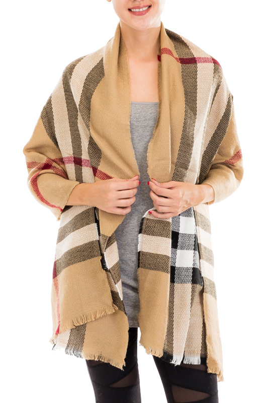 Designer Plaid Fashion Distressed Long Blanket Scarves