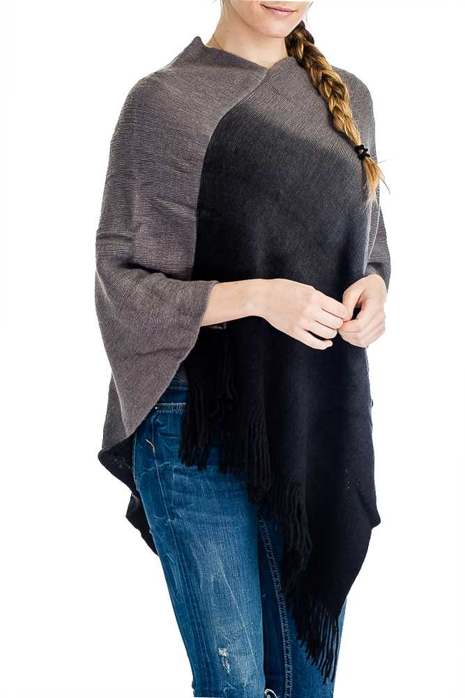 V Neck Ombre Color Dip Dyed Cashmere Felt Softness Poncho