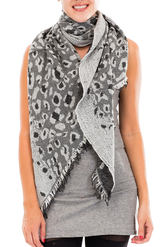 Reversible Double Sided Leopard Oblong Scarves