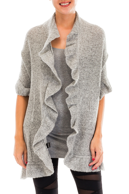 Ruffled Hem Solid Chic Over Sized Shawl Scarves