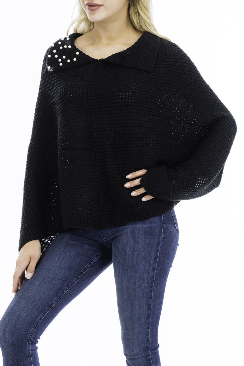 Crochet Knitted Boat-neck Style with Peal Accent Poncho