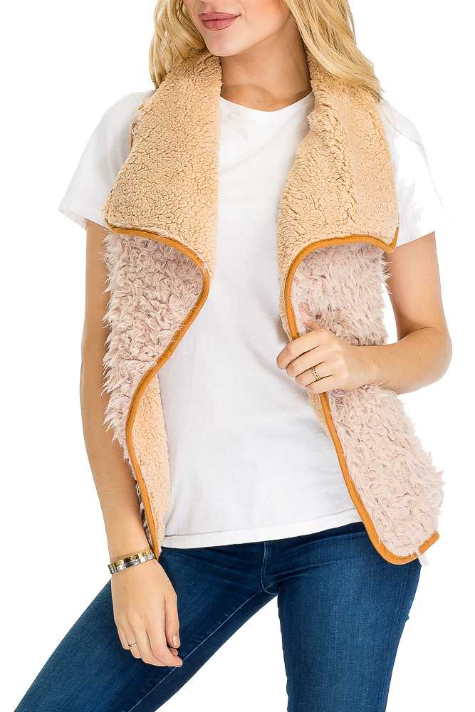 Extra Fluffy Open-Front Faux Fur Vest with Linings and Inner Faux Fur